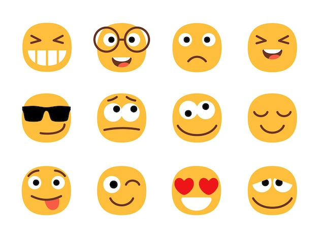 Gele schattige en leuke emoticons gezichten.