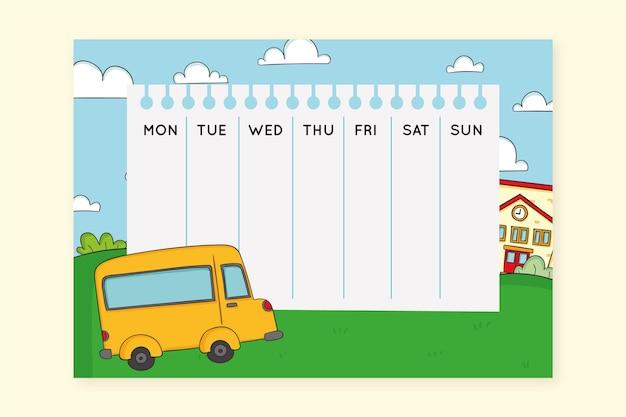 Gele schoolbus hand getrokken tijdschema