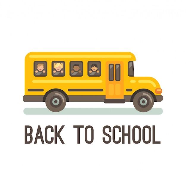 Gele schoolbus met vier kinderen die uit zijn vensters kijken