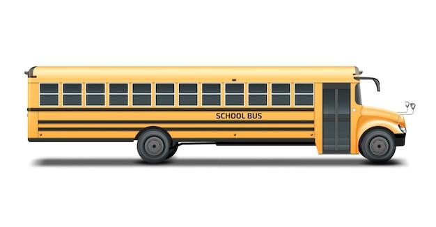 Gele schoolbus, rechter zijaanzicht. geïsoleerd op witte achtergrond