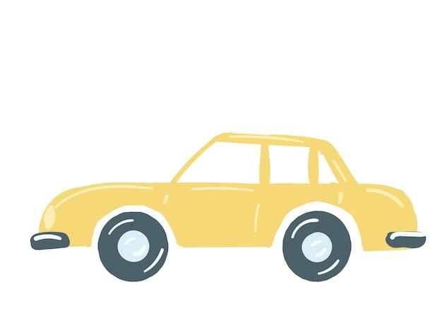 Gele sedan auto geïsoleerde auto met een kofferbak hand getekende cartoon stijl vectorillustratie