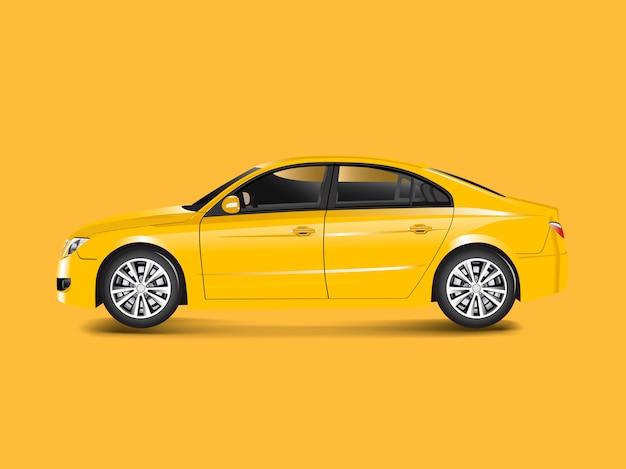Gele sedanauto in een gele vector als achtergrond