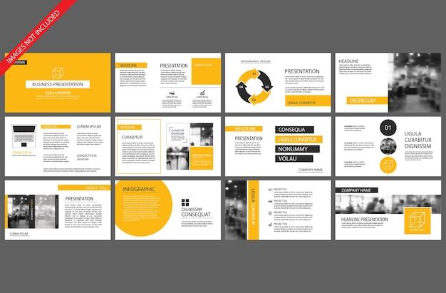 Gele sjabloon voor powerpoint presentatie presentatie