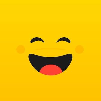 Gele smileygezicht poster. wereld lach dag. vector illustratie. emoticon achtergrond.