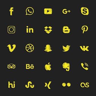 Gele sociale knoppen instellen
