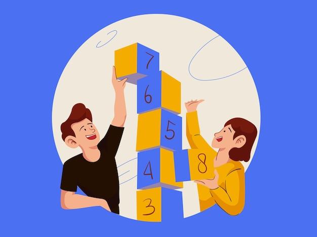 Gele speelse gelukkige samenwerkingsillustratie