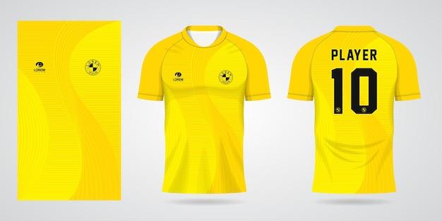 Gele sporttrui-sjabloon voor teamuniformen en voetbalt-shirtontwerp