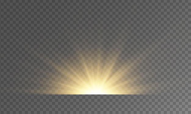 Gele ster barst schittert gloed lichteffect vonken gloed explosie sterrenlicht lens fakkels stralen bokeh