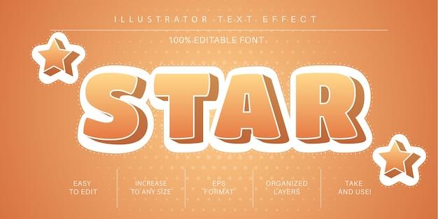 Gele ster tekststijl, lettertype-effect