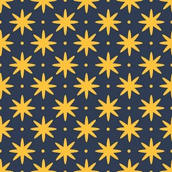 Gele sterren en stippen op donkerblauw naadloos patroon als achtergrond