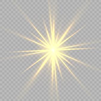 Gele sterren, licht, lensflare, glitter, zonflits, vonk