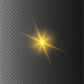 Gele sterren, licht, lensflare, glitter, zonneflits.