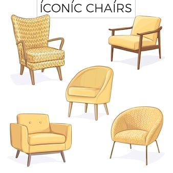 Gele stoel hand getekende illustratie