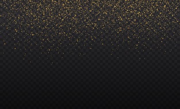 Gele stof gele vonken en gouden sterren schijnen met speciaal licht. kerstmis abstract stijlvol lichteffect op een transparante achtergrond. glinsterende stofdeeltjes.