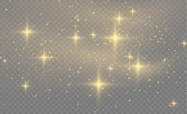 Gele stofgele vonken en gouden sterren schitteren met speciaal licht. sprankelende magische stofdeeltjes. abstract stijlvol lichteffect op een transparante achtergrond. abstract patroon