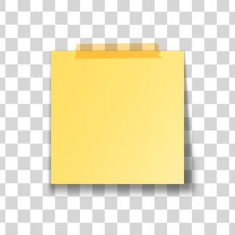 Gele stok nota geïsoleerd op transparante achtergrond.