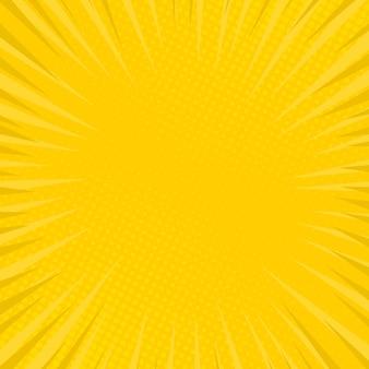Gele stripboekpagina-achtergrond in pop-artstijl met lege ruimte. sjabloon met stralen, stippen en halftone effect textuur. vector illustratie
