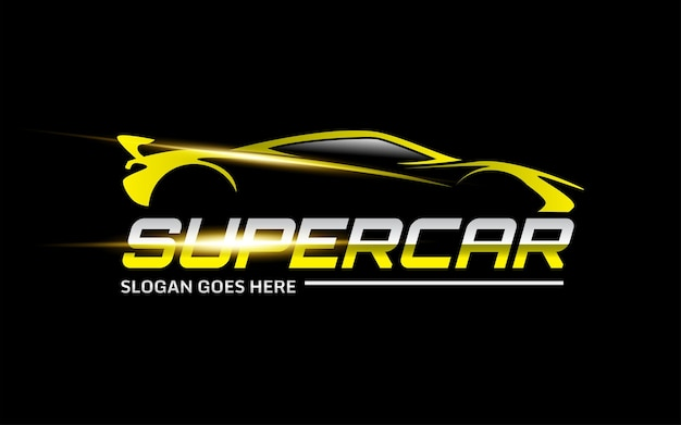 Gele super auto vector logo sjabloon