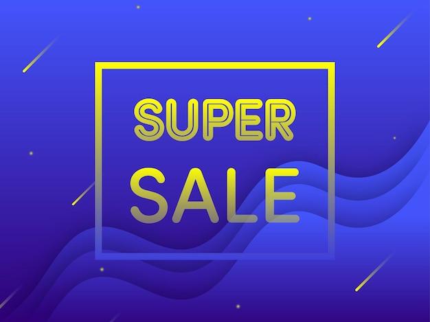 Gele super sale-tekst op blauwe overlappende golven achtergrond