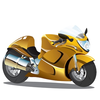 Gele superbike sportfiets cartoon