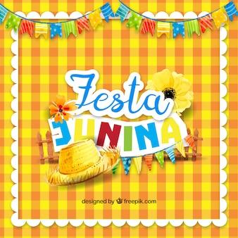 Gele tafelkleedachtergrond met traditionele elementen van feestfeesten