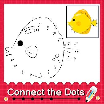 Gele tang fish kinderpuzzel verbind de stippen werkblad voor kinderen die getallen 1 tot 20 tellen