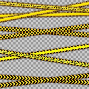 Gele tape misdaadscène, politielijn overschrijden geen tape. abstracte waarschuwingslijnen voor politie, ongeval, in aanbouw.