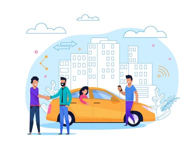 Gele taxi bestellen of delen. flat line illustratie