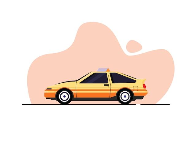 Gele taxi illustratie in vlakke stijl
