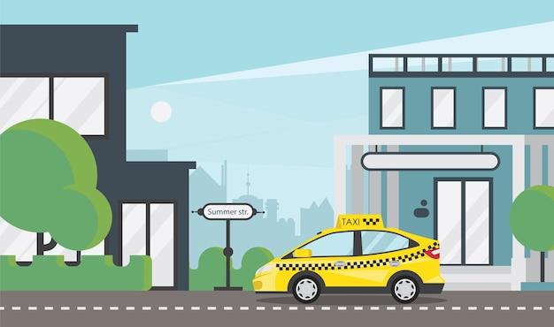 Gele taxi op stadsweg plat
