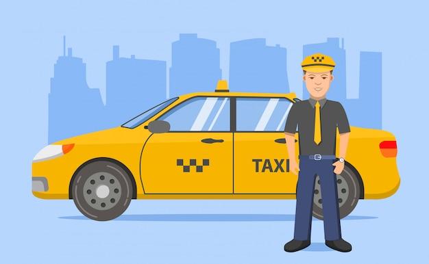 Gele taxi taxichauffeur auto