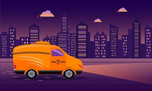 Gele taxiauto op de weg bij de achtergrond van de nachtstad