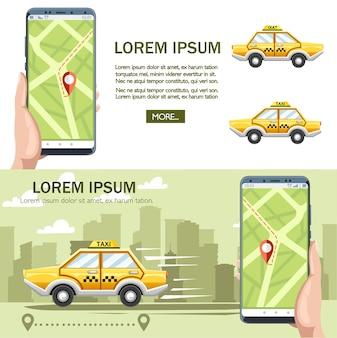 Gele taxiauto. taxi dienstverleningsconcept.