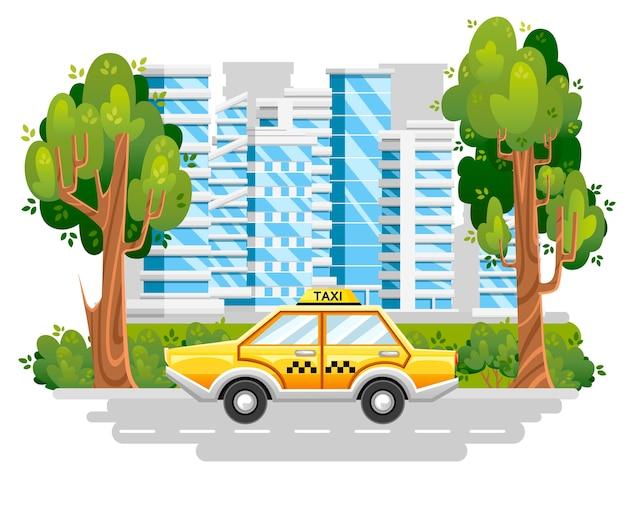 Gele taxiauto. taxi service. auto op weg in moderne stad. blauwe gebouwen met groene boom en struiken. . illustratie