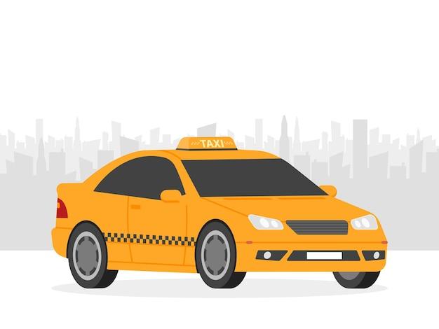 Gele taxiauto voor stadssilhouet, vectorillustratie in eenvoudig vlak ontwerp.