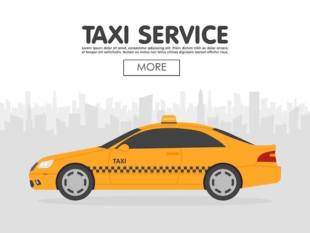 Gele taxiauto voor stadssilhouet, vectorillustratie in eenvoudig vlak ontwerp