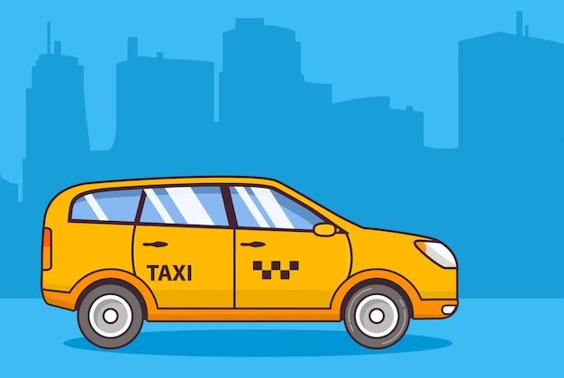 Gele taxiservice, voertuig stedelijke stad.