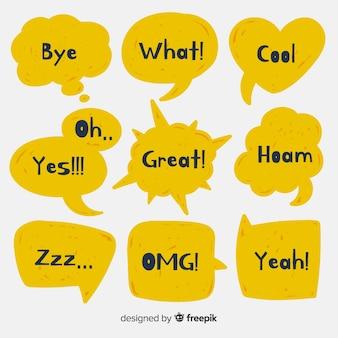 Gele tekstballonnen met verschillende uitdrukkingen