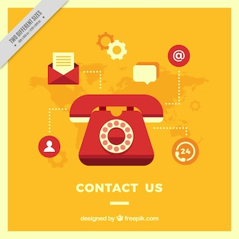 Gele telefoon achtergrond met contact iconen