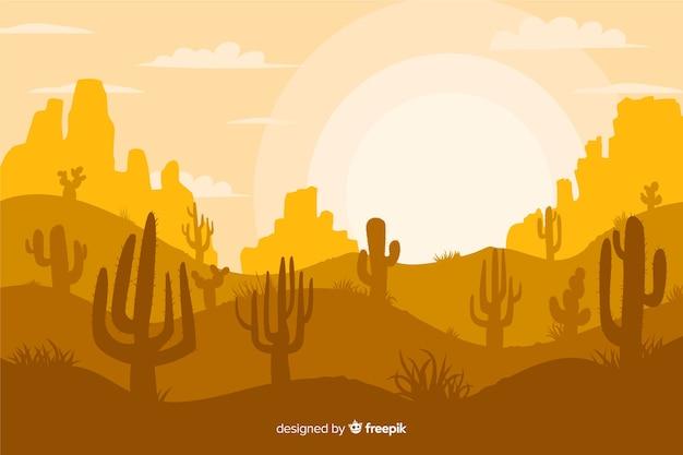 Gele tinten achtergrond met silhouetten van cactussen