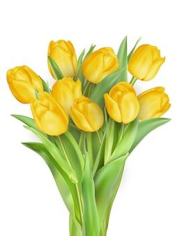 Gele tulp bloemboeket