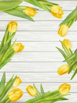 Gele tulpen met kopie ruimte.