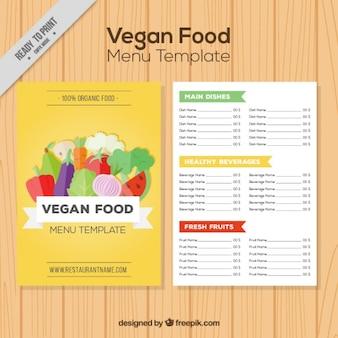 Gele veganistisch menu met groenten en fruit