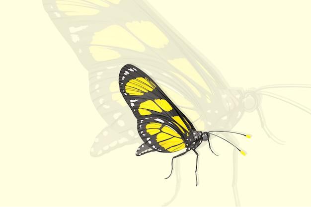 Gele vlinder realistische stijl hand tekenen