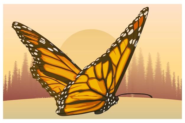 Gele vlinderillustratie in de middag