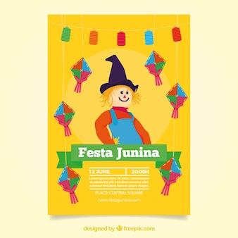Gele vogelverschrikker festa junina uitnodiging