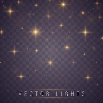 Gele vonken en sterren schitteren speciaal lichteffect.