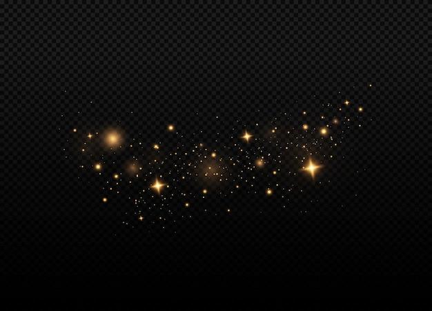 Gele vonken glitter speciaal lichteffect op een transparante achtergrond