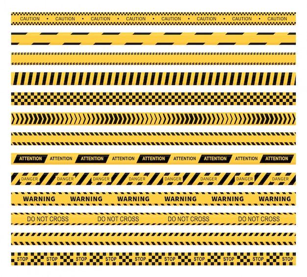 Gele voorzichtigheidsbanden en waarschuwingslijnen
