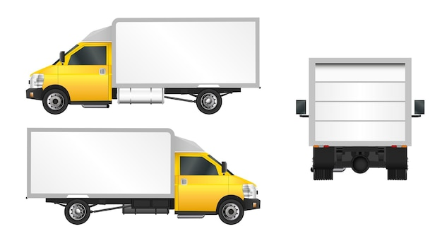 Gele vrachtwagen sjabloon. levering van bedrijfsvoertuigen in de stad.